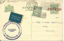 """NL 1923, blauer Aufkleber  """"Bestellen Op Zondag"""" auf Ganzsache v. Rotterdam"""