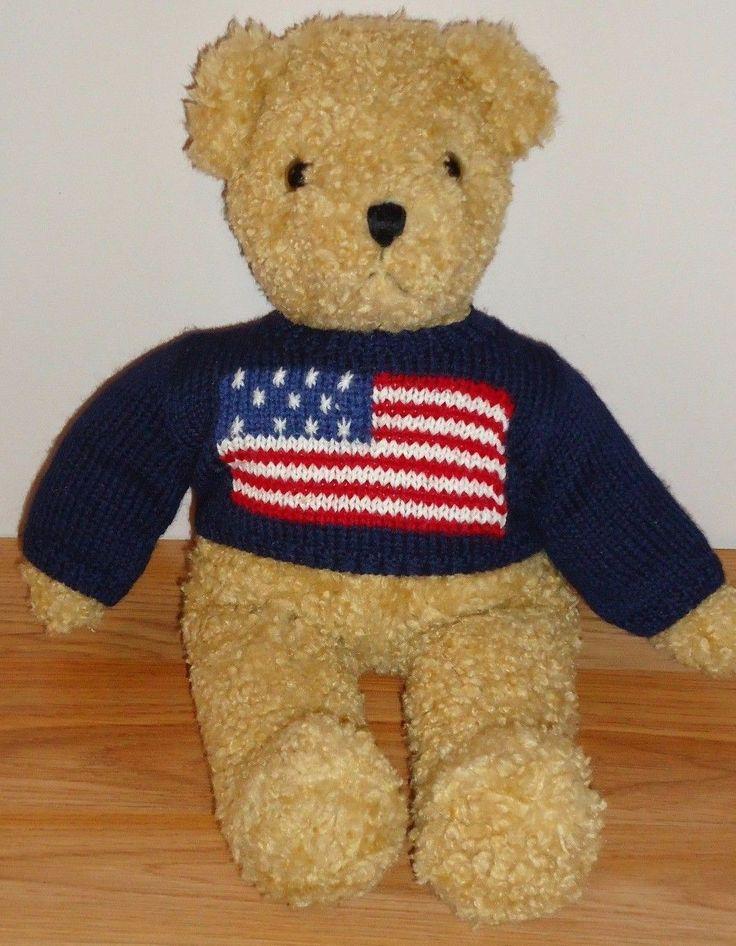 """#TeddyBears #Teddy #Bears Ty TEDDY BEAR w/American Flag Sweater 12"""" plush 1990 #TeddyBears #Teddy #Bears"""
