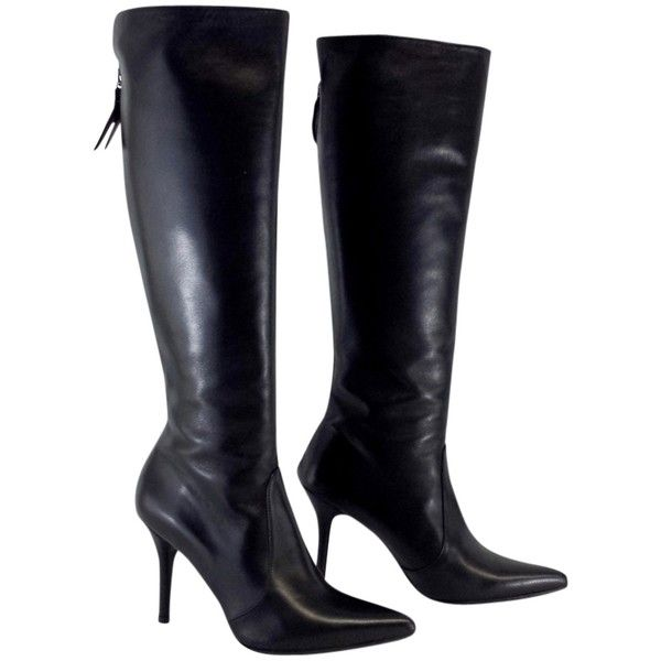 Pre-owned Stuart Weitzman Black Leather Knee High Boots ($264) ❤ liked on Polyvore featuring shoes, boots, none, black knee length boots, black leather boots, leather knee boots, black knee-high boots and zipper boots