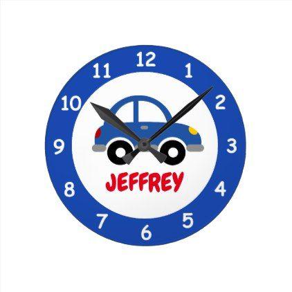 Custom toy car wall clock for kids bedroom nursery - boy gifts gift ideas diy unique
