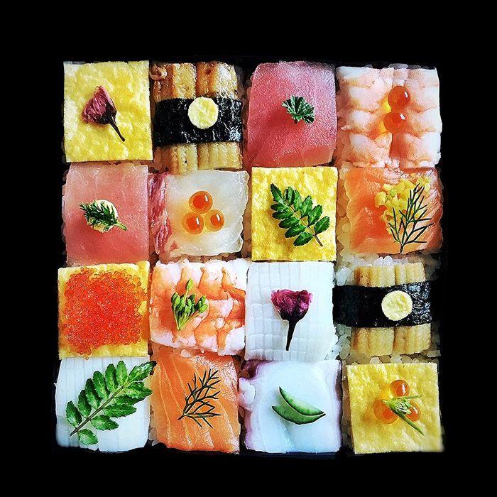 Mosaic sushi. Like temari-zushi, but square instead of round.