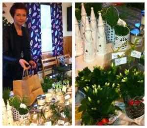 Julmässa i Bondstorp. Bland utställarna hittade man bl a Lillmärtas skafferi, Tinas blommor i Taberg och smycken av Design Felic. Det bjöds på glögg och pepparkakor och stämningen var på topp.