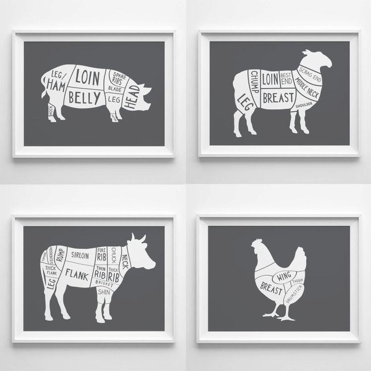 8x10 Set of 4 Butcher Prints  Christmas gift by OldEnglishCo, £30.00