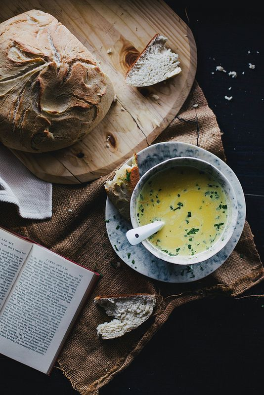 "A few of my favourite things: soup & fresh bread. Photograph from Beth Kirby | {local milk} "":"