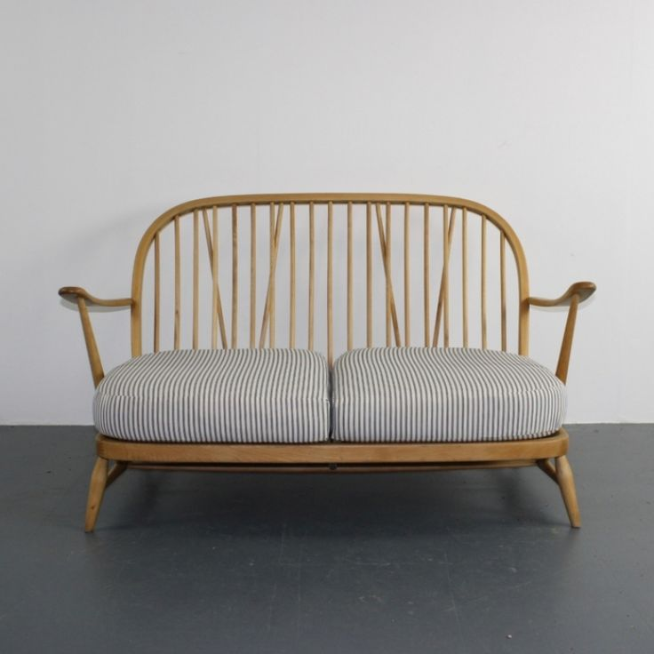 Vintage Ercol Windsor Sofa upholstered in French Ticking