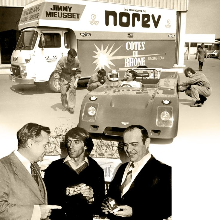1971 - NOREV supports race champions like Jimmy Mieusset, Henri Pescarolo and Jacques Lafitte / NOREV sponsorise et soutient les pilotes émérites Jimmy Mieusset, Henri Pescarolo et Jacques Lafitte. (Jimmy Mieusset / Joseph Véron - Jacques Lafitte - Guy Ligier)