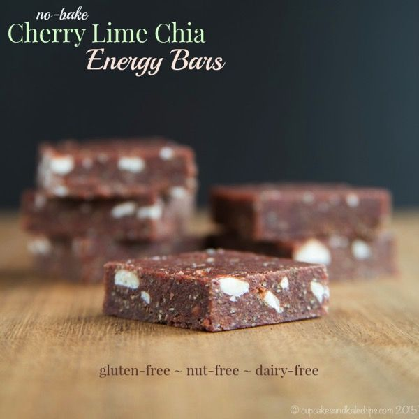 No-Bake Cherry Lime Chia Energy Bars - a super easy and healthy snack, perfect for busy days! Plus they are gluten free, grain free, nut free, vegan and dairy free!   cupcakesandkalechips.com