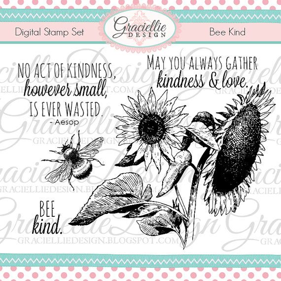Bee Kind  Digital Stamp Set by GraciellieDesign | Etsy