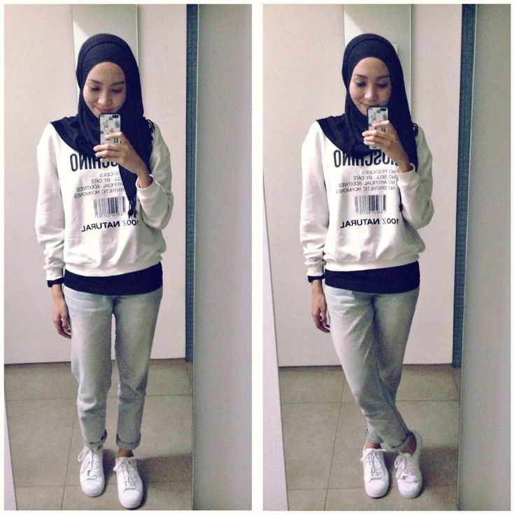 ootd. casual hijab outtfit  Adidas Sneakers, Moschino Sweatshirt, jeans, adidas superstar sneakers, monochrome  Syaifiena W lookbook.nu/syaifiena