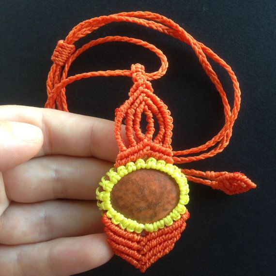 Jasper Stone Necklace Macrame, Pendant, Natural Stone and  Waxed Polyester Thread - Brazilian Quality