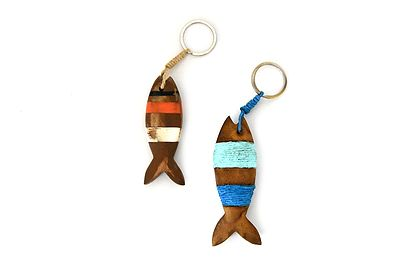 Handmade designer keychain, recycled wood, colourful original gift from Barcelona
