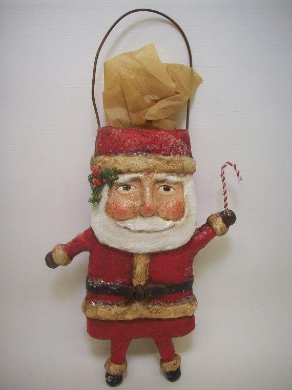Primitive paper mache folk art santa by for Paper mache christmas