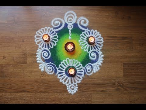 Free hand Rangoli Designs with Colours - Sanskar Bharti style rangoli design - diwali rangoli Design - YouTube