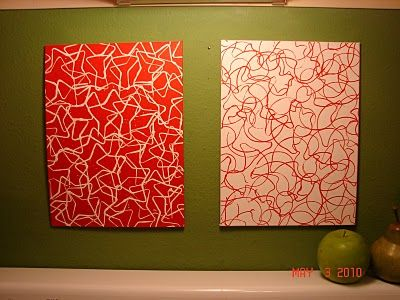Cookie cutter paintings on canvas.