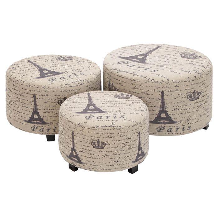 3 Piece Paris Ottoman Set
