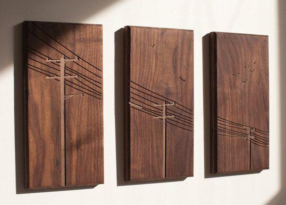 Power Poles Triptych Walnut by DMWR on Etsy. Great stuff.