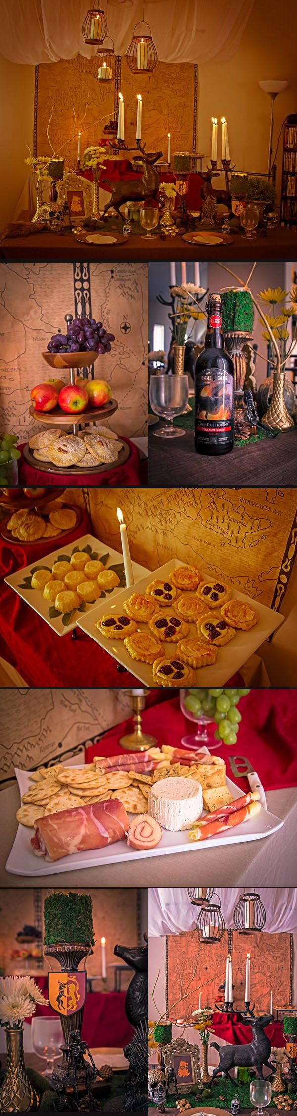 A Game of Thrones Party ideas for the buffet table.  Notice the map used as a backdrop.  Actually, the food selections are straightforward: cheese tray, variety of fruit, roast chicken, potatoes, and wine.  Lots of wine.