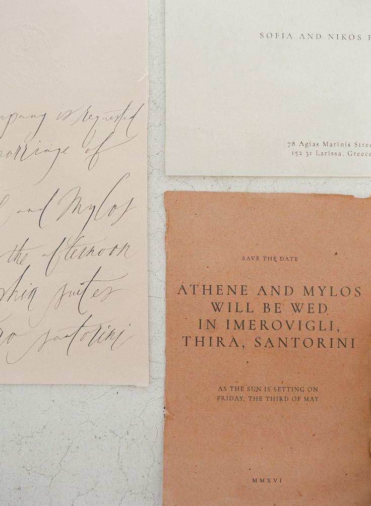 Ivory, cream and ochra stationary | Calligraphy | Greek Island weddings
