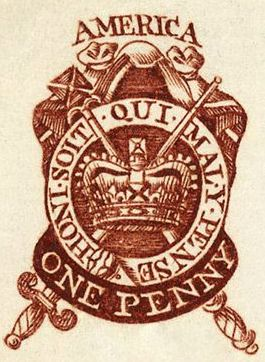 One Penny Stamp used in the Stamp Act circa 1765