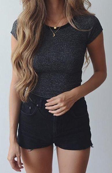 marled tee + black shorts #topshop