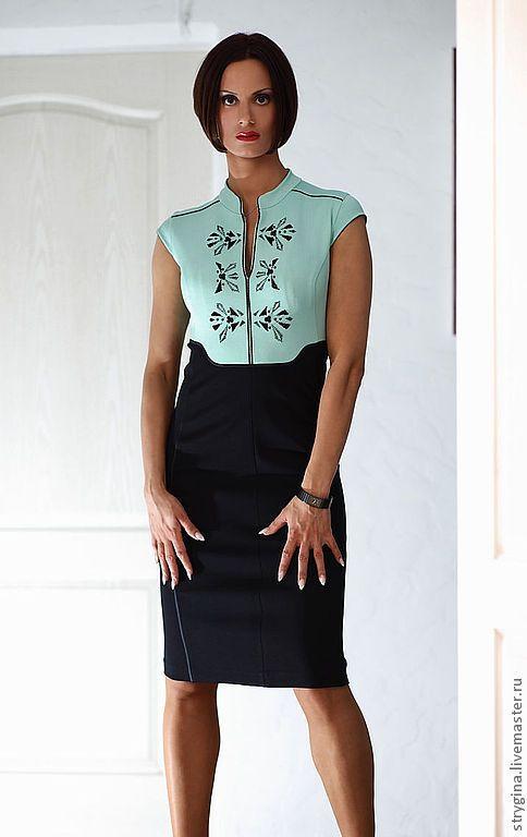 Купить Платье VITA минт - мятный, однотонный, платье с вышивкой, вышивка ручная, офисная одежда