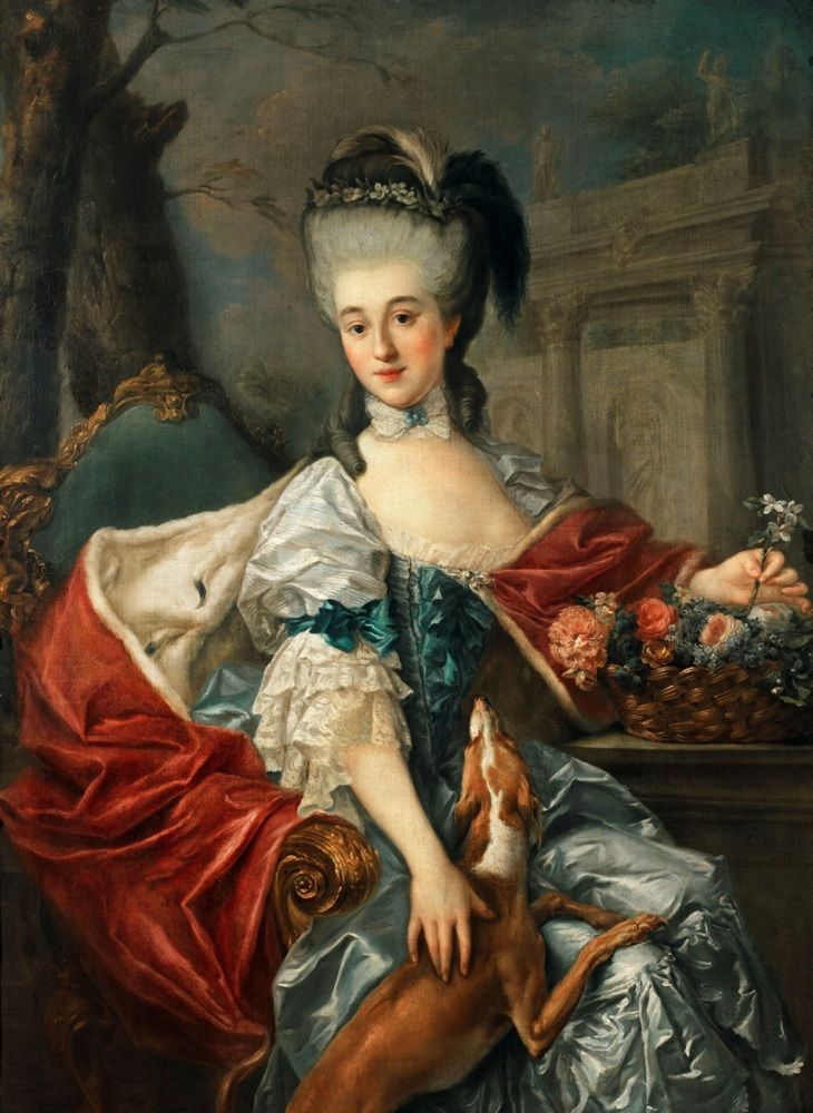 """Marcello Bacciarelli (1731–1818)_1770'_Izabela Lubomirska (Elżbieta Czartoryska) """"The Blue Marquise"""" (1733-1816)oil on canvas139 × 101 cm 1698 at Museum of King Jan III's Palace at Wilanów Warsaw dated by painter (1757) possibly on client's demand)this painting Lubomirska with Greyhound in 1770' she wears a wedding dress, although she had married 20 years earlier._#Princess Elżbieta Izabela Czartoryska (1736–1816), better known married name Izabela Lubomirska,daughter of August…"""