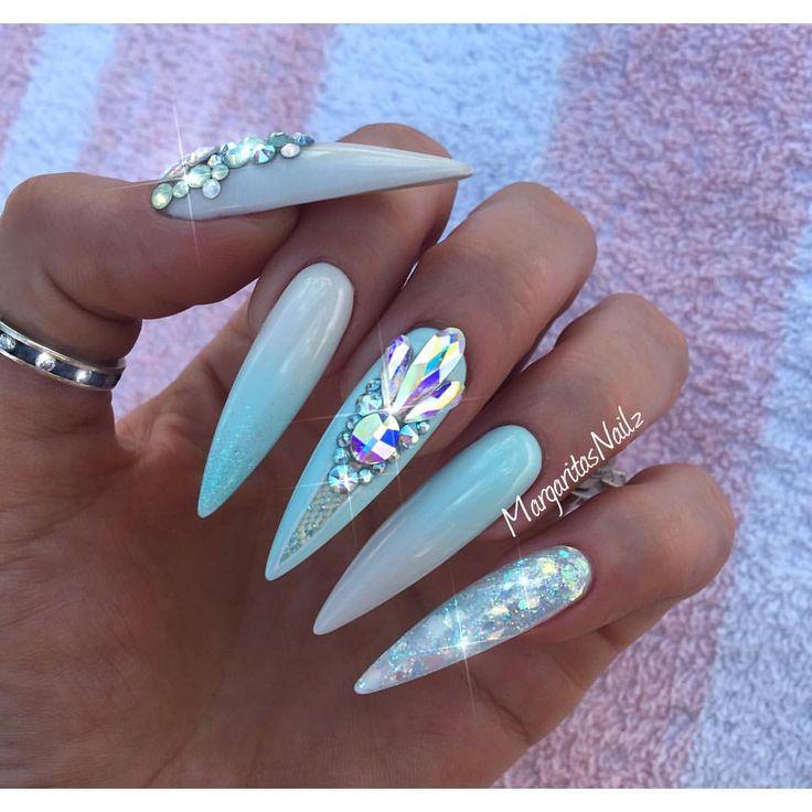 Mint blue ombré stiletto nails summer 2016 design Swarovski nail art by MargaritasNailz