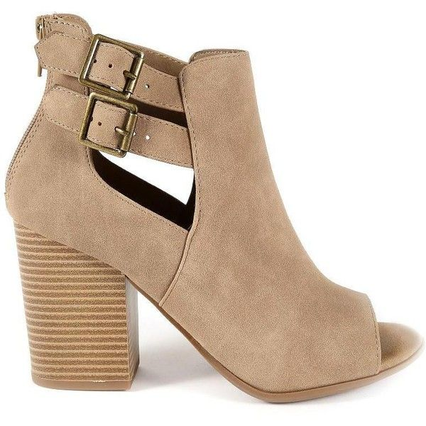 GRETCHEN PEEP TOE BOOTIES (€20) ❤ liked on Polyvore featuring shoes, boots, ankle booties, peep-toe ankle booties, high heel ankle booties, side cut out booties, zip up boots and peep-toe booties