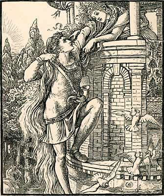 Rapunzel was published in 1812 by the Grimm brothers adapted from Persinette published in 1698. See Persian tale Rudaba... Possibly an retelling of the story of Saint Barbara?