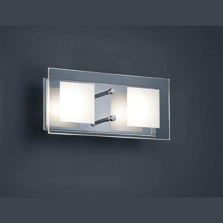 LED-Wandlampe in elegant quadratischer Form mit zwei Lichtquellen 26 cm Breite