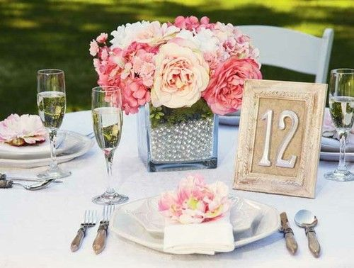 Wedding centerpiece with faux pearl vase filler wedding for Table 52 number