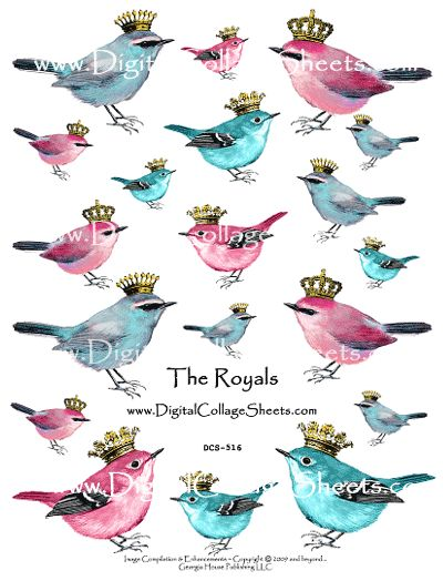 Whimsical - Birds With Crowns