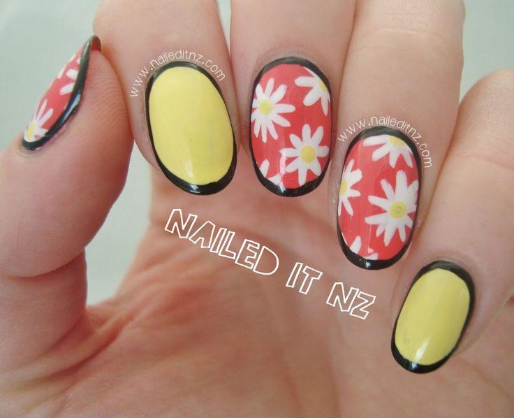 Nailed It NZ: Pastel Daisy Border Nails http://www.naileditnz.com/2014/06/pastel-daisy-border-nails.html