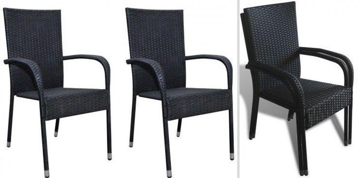 Black Rattan Outdoor Seats Garden Patio Furniture Set 2 Pcs Stackable Chairs