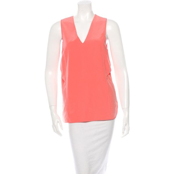 Pre-owned Alexander Wang Silk Sleeveless Top (215 PEN) ❤ liked on Polyvore featuring tops, pink, red tank top, red tank, red sleeveless top, red silk tank top and pink top