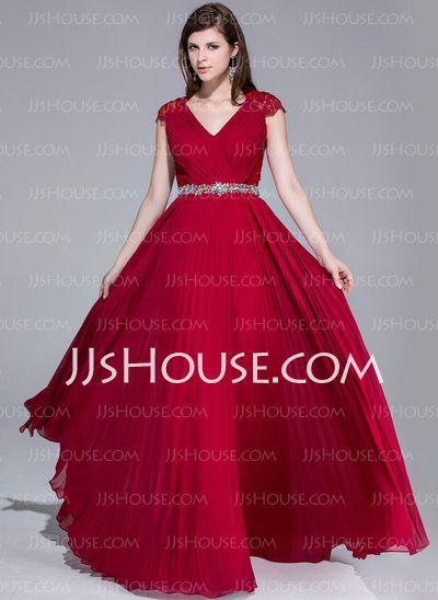 Evening Dresses - $150.49 - A-Line/Princess V-neck Floor-Length Chiffon Lace Evening Dress With Ruffle Beading (017025540) http://jjshouse.com/A-Line-Princess-V-Neck-Floor-Length-Chiffon-Lace-Evening-Dress-With-Ruffle-Beading-017025540-g25540