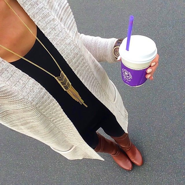 Express Oatmeal/Beige Marled Cardigan + Black tunic tank + leggings + cognac boots [Instagram - @ontheDailyX]