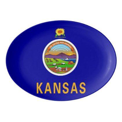 Patriotic porcelain coupe platter Kansas flag - sunflowers sunflower gifts floral flowers cyo gift idea unique