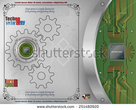 Abstract technology background; Processor Chip on metallic device nailed on scratched metallic background with screws; Ornamental arabesques frames; Chip connected to circuit board.   - stock vector