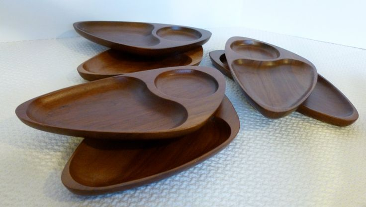 SALE ~ Vintage Wood Serving Tray Set of 6 Mid Century Modern Appetizer Plate by ModCatVintage on Etsy