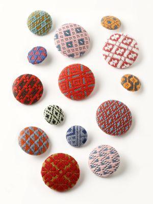 Shashiko-Cover buttons 津軽こぎん刺し「くるみボタン」