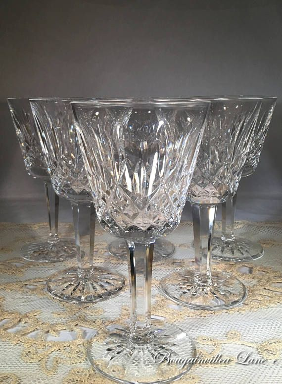 Waterford 'Lismore' Cut Crystal Claret Wine Glasses 5