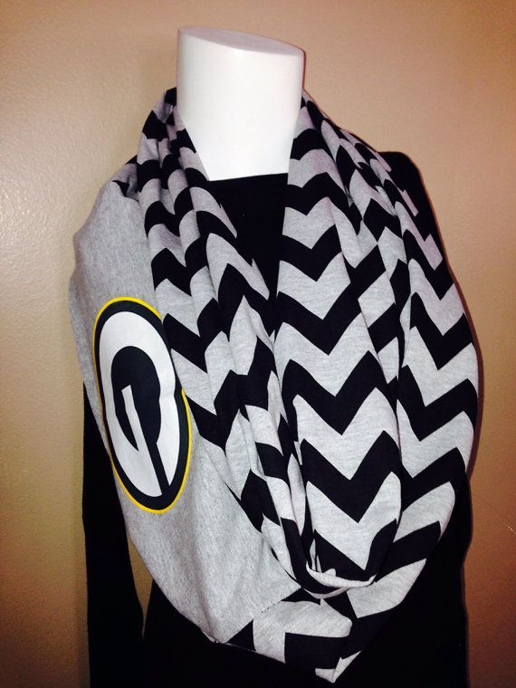 Packers AND chevron, yes please! Green Bay Packers Infinity Scarf on Etsy, $25.00