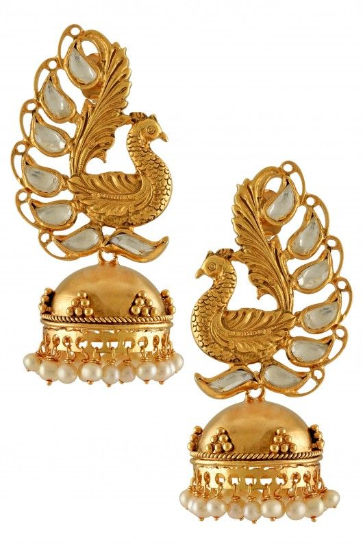 https://www.tribebyamrapali.com/Silver Gold Plated Textured Peacock Crystal Pearl Jhumki