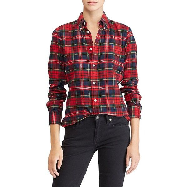 Polo Ralph Lauren Women's Classic Flannel Button-Down Shirt ($99) ❤ liked on Polyvore featuring tops, red, red button down shirt, plaid flannel shirt, long sleeve button down shirts, red long sleeve shirt and red flannel shirt