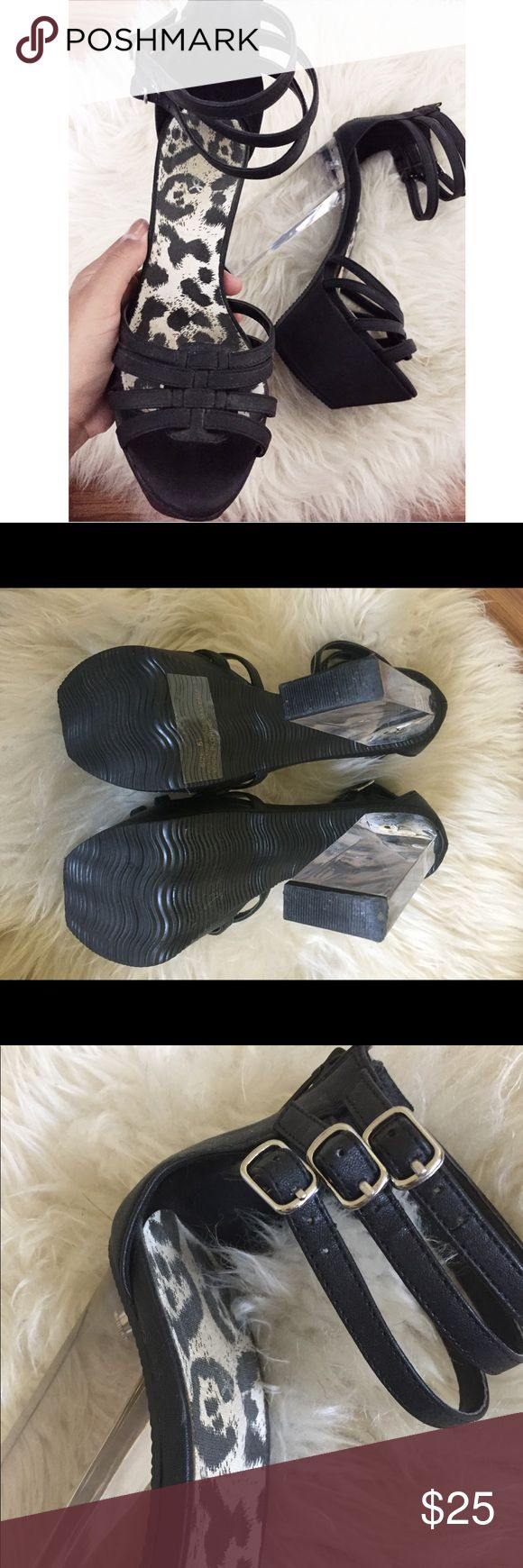 Clear heel shoes These have a little sign of wear on the insole but other than that they are in great condition. They have a zipper for easy access so you don't have to undo the buckles every time. Shoes Heels