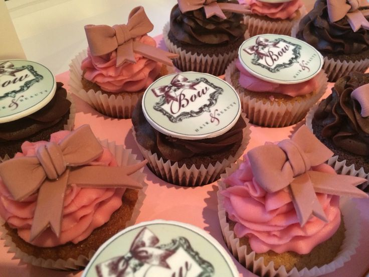 Beautiful Bow Cupcakes - Pink and brown (raspberry and chocolate). With edible toppers.