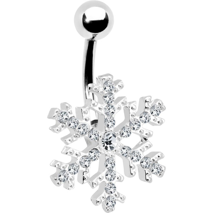 Crystalline Gem Snowflake Belly Ring