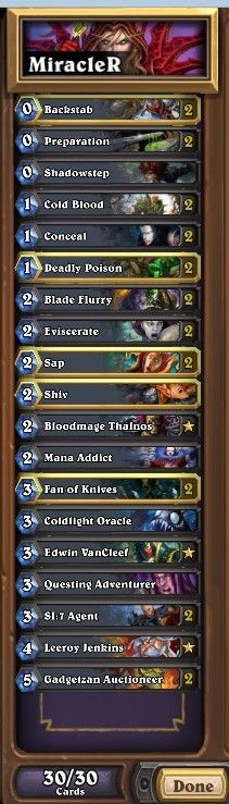 Miracle Rogue deck. #Blizzard #Hearthstone #Legend #UCBx432