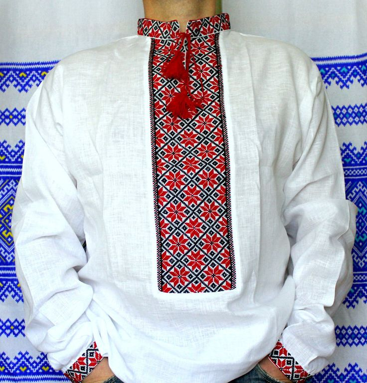 Vyshyvanka Ukrainian embroidery slavic Men linen shirt Black Red father's gift #Handmade #Pesantshirt